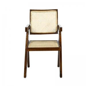 chandigarh-accent-chair-in-cane-fabric-with-dark-walnut-polish - chairs
