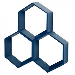 3-hexagon-wall-rack-blue - storage-and-shelves