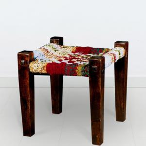 mango-wood-fabric-woven-chindi-stool - benches-stools-and-ottomans