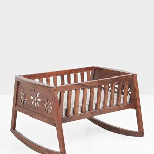 sheesham-wood-lullaby-cradle-with-cushion-rocker - kids-furniture