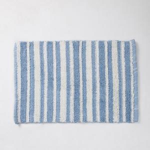 blue-cotton-woven-pranay-bathmat - bath-accessories