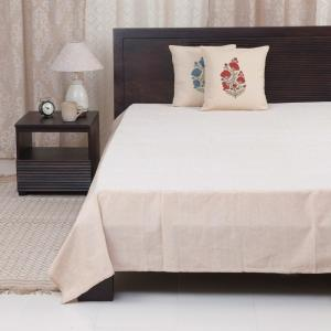 beige-woven-cotton-bed-cover-single - bed-linen