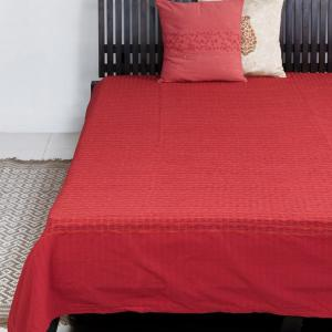 red-cotton-woven-deepali-bed-cover-single - bed-linen