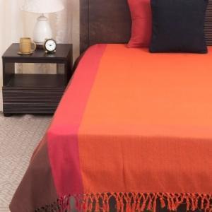 orange-cotton-woven-mehar-bed-cover-single - bed-linen