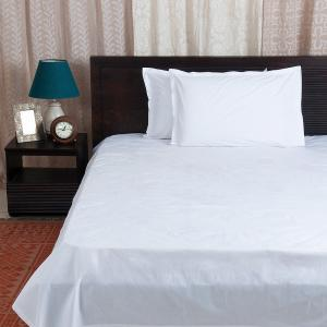 white-cotton-woven-bed-sheet-with-pillow-cover-double - bed-linen