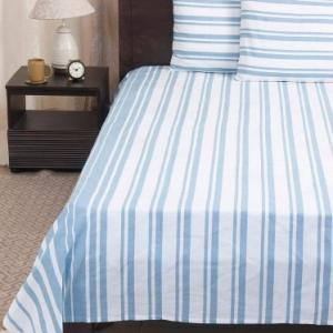 blue-cotton-woven-broad-way-stripe-bed-sheet-set-double - bed-linen