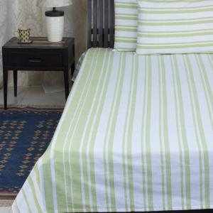 green-cotton-woven-broad-striped-bed-sheet-single - bed-linen