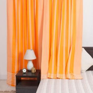 orange-cotton-woven-majid-curtain-window - curtains-and-blinds