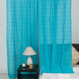 blue-cotton-mull-woven-avani-check-curtain-long-door - curtains-and-blinds