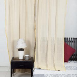 yellow-cotton-burbank-woven-curtain-door - curtains-and-blinds