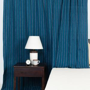 blue-cotton-woven-curtain-window - curtains-and-blinds