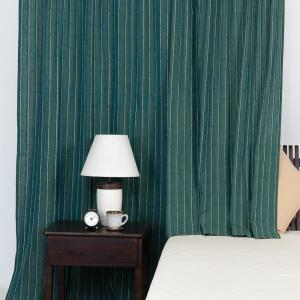 green-cotton-woven-curtain-window - curtains-and-blinds