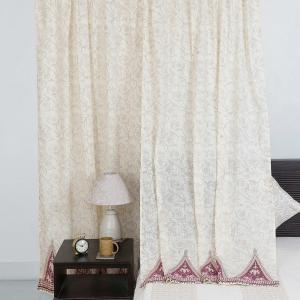 red-cotton-slub-printed-parson-curtain-window - curtains-and-blinds