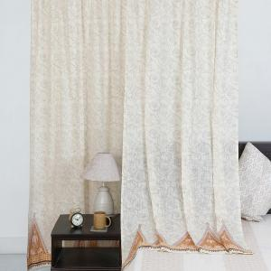 yellow-cotton-slub-printed-parson-curtain-window - curtains-and-blinds