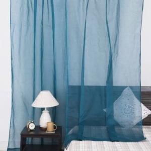 blue-cotton-plain-organdy-curtain-door - curtains-and-blinds