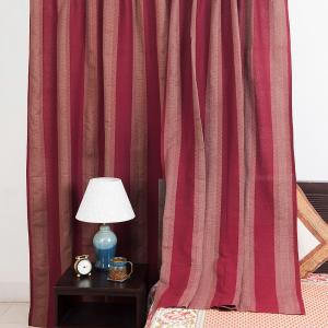 maroon-cotton-woven-mahima-curtain-window - curtains-and-blinds