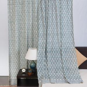 blue-cotton-slub-printed-kaveri-curtain-window - curtains-and-blinds