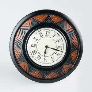 mdf-wooden-glass-carved-round-clock - wall-clocks