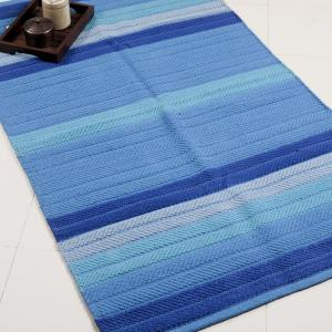 blue-cotton-woven-tonal-stripe-dhurrie - rugs-and-carpets