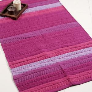 pink-cotton-woven-tonal-stripe-dhurrie - rugs-and-carpets