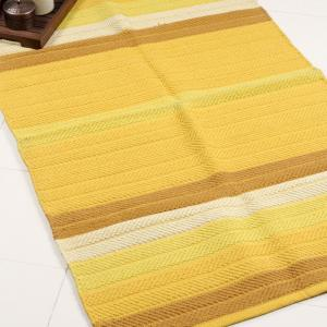 yellow-cotton-woven-tonal-stripe-dhurrie - rugs-and-carpets