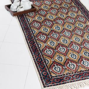 maroon-cotton-printed-kalamkari-dhurrie - rugs-and-carpets