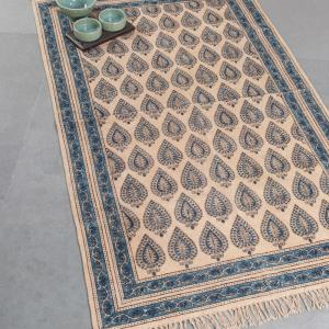 blue-cotton-printed-kalamkari-dhurrie - rugs-and-carpets