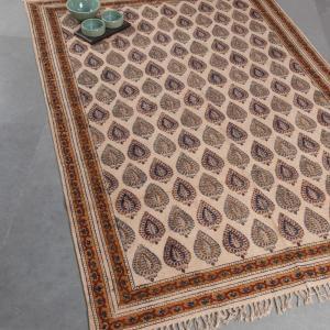 orange-cotton-printed-kalamkari-dhurrie - rugs-and-carpets