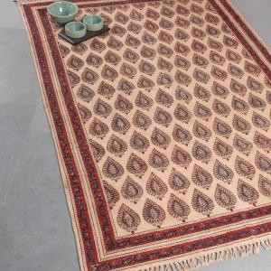 red-cotton-printed-kalamkari-dhurrie - rugs-and-carpets