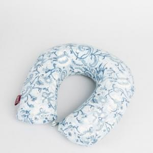 blue-cotton-printed-memory-foam-neck-pillow - rugs-and-carpets