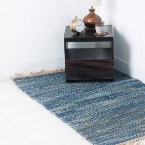 blue-jute-woven-danish-dhurrie - rugs-and-carpets