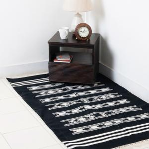 black-cotton-woven-rati-dhurrie - rugs-and-carpets