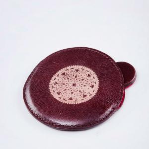 leather-round-hand-mirror - mirrors-and-jharokhas