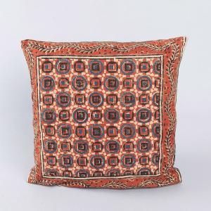 red-cotton-kalamkari-printed-cushion-cover - cushions-and-pillows