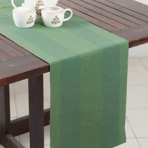 green-cotton-woven-table-runner - table-linen-and-accessories