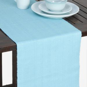 blue-cotton-woven-herringbone-table-runner - table-linen-and-accessories