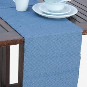 blue-cotton-woven-rib-table-runner - table-linen-and-accessories