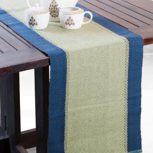 green-cotton-woven-zeeya-table-runner - table-linen-and-accessories