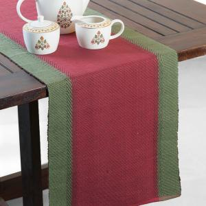 red-cotton-woven-zeeya-table-runner - table-linen-and-accessories