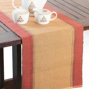 orange-cotton-woven-zeeya-table-runner - table-linen-and-accessories