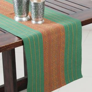 green-cotton-woven-mirania-runner - table-linen-and-accessories