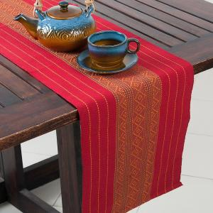 red-cotton-woven-mirania-runner - table-linen-and-accessories