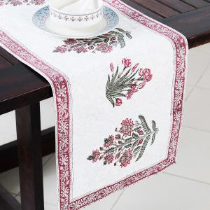red-cotton-printed-mahi-table-runner - table-linen-and-accessories