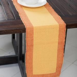 yellow-cotton-woven-ribbed-table-runner - table-linen-and-accessories