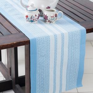 blue-cotton-woven-beena-table-runner - table-linen-and-accessories