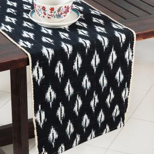black-natural-fibre-ikat-daksh-table-runner - table-linen-and-accessories