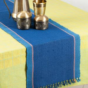blue-cotton-jute-woven-tapish-table-runner - table-linen-and-accessories