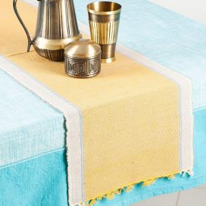 yellow-cotton-jute-woven-tapish-table-runner - table-linen-and-accessories