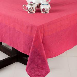 pink-cotton-woven-prayag-table-cover - table-linen-and-accessories