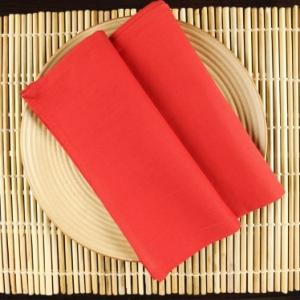 red-cotton-woven-plain-napkin-set-of-6 - table-linen-and-accessories